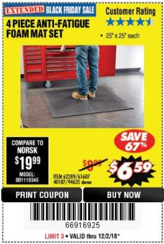 Harbor Freight Coupon 4 PIECE ANTI-FATIGUE FOAM MAT SET Lot No. 94635/61607/40187/62389 Expired: 12/2/18 - $6.59
