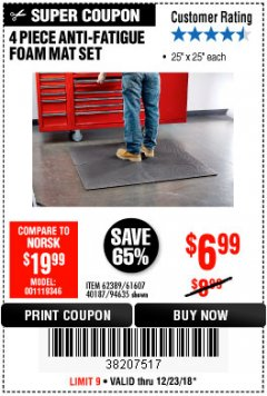 Harbor Freight Coupon 4 PIECE ANTI-FATIGUE FOAM MAT SET Lot No. 94635/61607/40187/62389 Expired: 12/23/18 - $6.99