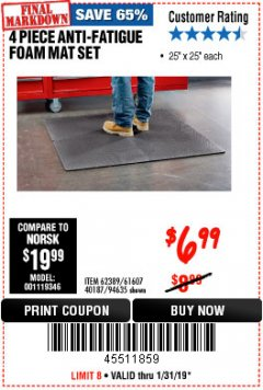 Harbor Freight Coupon 4 PIECE ANTI-FATIGUE FOAM MAT SET Lot No. 94635/61607/40187/62389 Expired: 1/31/19 - $6.99