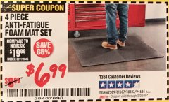 Harbor Freight Coupon 4 PIECE ANTI-FATIGUE FOAM MAT SET Lot No. 94635/61607/40187/62389 Expired: 2/28/19 - $6.99