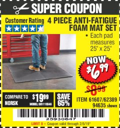 Harbor Freight Coupon 4 PIECE ANTI-FATIGUE FOAM MAT SET Lot No. 94635/61607/40187/62389 Expired: 2/5/19 - $6.99