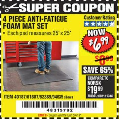 Harbor Freight Coupon 4 PIECE ANTI-FATIGUE FOAM MAT SET Lot No. 94635/61607/40187/62389 Expired: 5/4/19 - $6.99