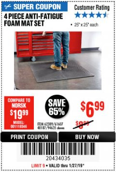 Harbor Freight Coupon 4 PIECE ANTI-FATIGUE FOAM MAT SET Lot No. 94635/61607/40187/62389 Expired: 1/27/19 - $6.99