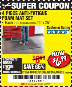 Harbor Freight Coupon 4 PIECE ANTI-FATIGUE FOAM MAT SET Lot No. 94635/61607/40187/62389 Expired: 5/31/19 - $6.99