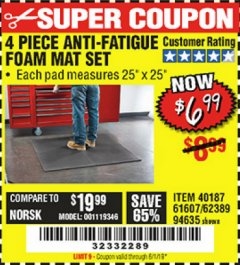 Harbor Freight Coupon 4 PIECE ANTI-FATIGUE FOAM MAT SET Lot No. 94635/61607/40187/62389 Expired: 6/1/19 - $6.99