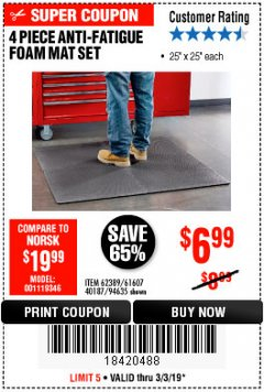 Harbor Freight Coupon 4 PIECE ANTI-FATIGUE FOAM MAT SET Lot No. 94635/61607/40187/62389 Expired: 3/3/19 - $6.99