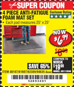 Harbor Freight Coupon 4 PIECE ANTI-FATIGUE FOAM MAT SET Lot No. 94635/61607/40187/62389 Expired: 6/28/19 - $6.99
