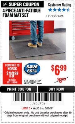 Harbor Freight Coupon 4 PIECE ANTI-FATIGUE FOAM MAT SET Lot No. 94635/61607/40187/62389 Expired: 3/17/19 - $6.99