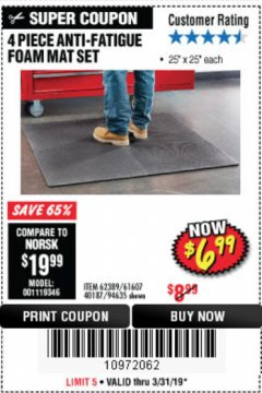 Harbor Freight Coupon 4 PIECE ANTI-FATIGUE FOAM MAT SET Lot No. 94635/61607/40187/62389 Expired: 3/31/19 - $6.99