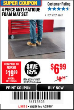 Harbor Freight Coupon 4 PIECE ANTI-FATIGUE FOAM MAT SET Lot No. 94635/61607/40187/62389 Expired: 4/28/19 - $6.99