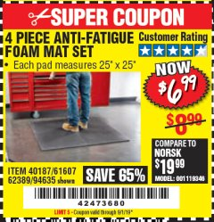 Harbor Freight Coupon 4 PIECE ANTI-FATIGUE FOAM MAT SET Lot No. 94635/61607/40187/62389 Valid Thru: 9/1/19 - $6.99