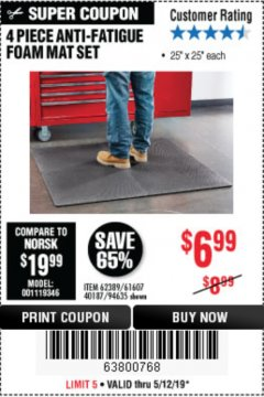 Harbor Freight Coupon 4 PIECE ANTI-FATIGUE FOAM MAT SET Lot No. 94635/61607/40187/62389 Expired: 5/19/19 - $6.99