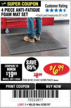 Harbor Freight Coupon 4 PIECE ANTI-FATIGUE FOAM MAT SET Lot No. 94635/61607/40187/62389 Expired: 6/30/19 - $6.99