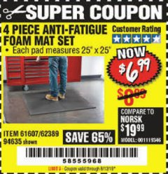 Harbor Freight Coupon 4 PIECE ANTI-FATIGUE FOAM MAT SET Lot No. 94635/61607/40187/62389 Expired: 8/12/19 - $6.99