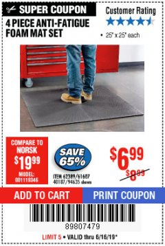 Harbor Freight Coupon 4 PIECE ANTI-FATIGUE FOAM MAT SET Lot No. 94635/61607/40187/62389 Expired: 6/16/19 - $6.99
