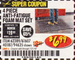 Harbor Freight Coupon 4 PIECE ANTI-FATIGUE FOAM MAT SET Lot No. 94635/61607/40187/62389 Expired: 7/31/19 - $6.99