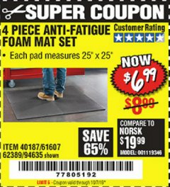 Harbor Freight Coupon 4 PIECE ANTI-FATIGUE FOAM MAT SET Lot No. 94635/61607/40187/62389 Valid Thru: 10/7/19 - $6.99