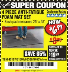 Harbor Freight Coupon 4 PIECE ANTI-FATIGUE FOAM MAT SET Lot No. 94635/61607/40187/62389 Valid Thru: 10/14/19 - $6.99