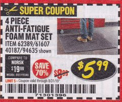 Harbor Freight Coupon 4 PIECE ANTI-FATIGUE FOAM MAT SET Lot No. 94635/61607/40187/62389 Valid Thru: 8/31/19 - $5.99