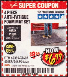 Harbor Freight Coupon 4 PIECE ANTI-FATIGUE FOAM MAT SET Lot No. 94635/61607/40187/62389 Valid Thru: 8/31/19 - $6.99