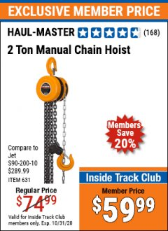 Harbor Freight ITC Coupon 2 TON MANUAL CHAIN HOIST Lot No. 631/60719 Expired: 10/31/20 - $59.99