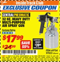 Harbor Freight ITC Coupon 32 OZ. HEAVY DUTY MULTI-PURPOSE PAINT SPRAY GUN Lot No. 69704/97855 Expired: 9/30/18 - $17.99