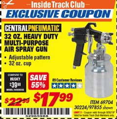 Harbor Freight ITC Coupon 32 OZ. HEAVY DUTY MULTI-PURPOSE PAINT SPRAY GUN Lot No. 69704/97855 Expired: 9/30/19 - $17.99