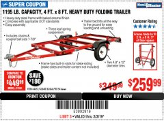 Harbor Freight Coupon 1195 LB. CAPACITY 4 FT. x 8 FT. HEAVY DUTY FOLDABLE UTILITY TRAILER Lot No. 62170/62648/62666/90154 Expired: 2/3/19 - $259.99