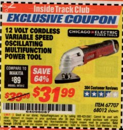Harbor Freight ITC Coupon 12 VOLT LITHIUM-ION VARIABLE SPEED MULTIFUNCTION POWER TOOL Lot No. 67707/68012 Expired: 7/31/19 - $31.99