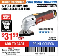 Harbor Freight ITC Coupon 12 VOLT LITHIUM-ION VARIABLE SPEED MULTIFUNCTION POWER TOOL Lot No. 67707/68012 Expired: 1/28/20 - $31.99