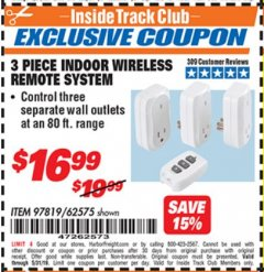 Harbor Freight ITC Coupon INDOOR WIRELESS REMOTE SYSTEM PACK OF 3 Lot No. 62575/68759 Dates Valid: 5/3/19 - 5/31/19 - $16.99