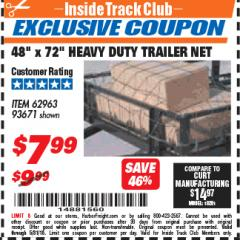 "Harbor Freight ITC Coupon 48"" X 72"" HEAVY DUTY TRAILER NET Lot No. 93671/62963 Expired: 5/31/18 - $7.99"