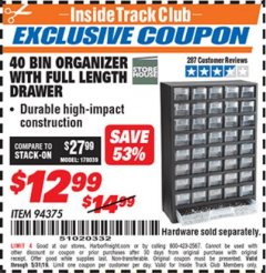 Harbor Freight ITC Coupon 40 BIN ORGANIZER WITH FULL LENGTH DRAWER Lot No. 94375 Dates Valid: 12/31/69 - 5/31/19 - $12.99