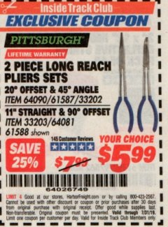 Harbor Freight ITC Coupon 2 PIECE LONG REACH PLIERS SETS Lot No. 33202/61587/33203/61588 Expired: 7/31/19 - $5.99