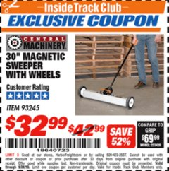 "Harbor Freight ITC Coupon 30"" MAGNETIC SWEEPER WITH WHEELS Lot No. 93245 Expired: 9/30/18 - $32.99"