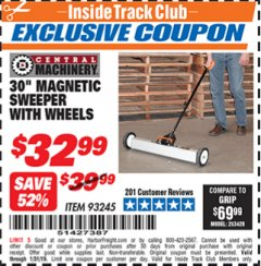 "Harbor Freight ITC Coupon 30"" MAGNETIC SWEEPER WITH WHEELS Lot No. 93245 Expired: 1/31/19 - $32.99"
