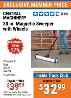"Harbor Freight ITC Coupon 30"" MAGNETIC SWEEPER WITH WHEELS Lot No. 93245 Expired: 10/31/20 - $32.99"