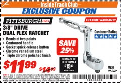"Harbor Freight ITC Coupon 3/8"" DRIVE DUAL FLEX RATCHET Lot No. 96369 Expired: 7/31/18 - $11.99"