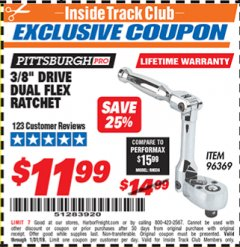 "Harbor Freight ITC Coupon 3/8"" DRIVE DUAL FLEX RATCHET Lot No. 96369 Expired: 1/31/19 - $11.99"
