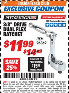 "Harbor Freight ITC Coupon 3/8"" DRIVE DUAL FLEX RATCHET Lot No. 96369 Expired: 3/31/19 - $11.99"
