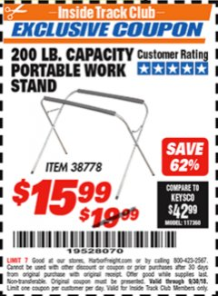 Harbor Freight ITC Coupon PORTABLE WORK STAND Lot No. 38778 Expired: 9/30/18 - $15.99
