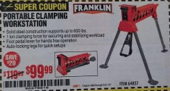 Harbor Freight Coupon PORTABLE WORK STAND Lot No. 38778 Expired: 8/31/19 - $99.99