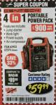 Harbor Freight Coupon 4-IN-1 JUMP STARTER WITH AIR COMPRESSOR Lot No. 60666/69401/62374/62453 Expired: 2/28/18 - $59.99