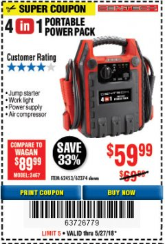 Harbor Freight Coupon 4-IN-1 JUMP STARTER WITH AIR COMPRESSOR Lot No. 60666/69401/62374/62453 Expired: 5/27/18 - $59.99