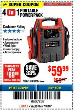 Harbor Freight Coupon 4-IN-1 JUMP STARTER WITH AIR COMPRESSOR Lot No. 60666/69401/62374/62453 Expired: 7/1/18 - $59.99
