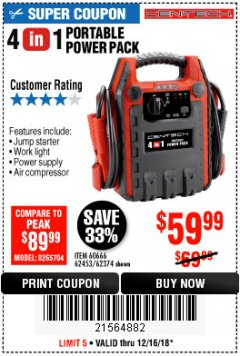 Harbor Freight Coupon 4-IN-1 JUMP STARTER WITH AIR COMPRESSOR Lot No. 60666/69401/62374/62453 Expired: 12/16/18 - $59.99