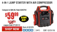 Harbor Freight Coupon 4-IN-1 JUMP STARTER WITH AIR COMPRESSOR Lot No. 60666/69401/62374/62453 Expired: 12/31/18 - $59.99