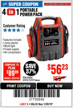 Harbor Freight Coupon 4-IN-1 JUMP STARTER WITH AIR COMPRESSOR Lot No. 60666/69401/62374/62453 Expired: 1/20/19 - $56.23