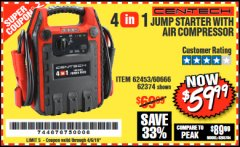 Harbor Freight Coupon 4-IN-1 JUMP STARTER WITH AIR COMPRESSOR Lot No. 60666/69401/62374/62453 Expired: 4/5/19 - $59.99