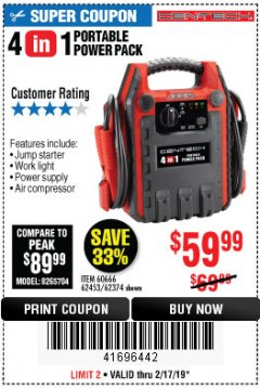 Harbor Freight Coupon 4-IN-1 JUMP STARTER WITH AIR COMPRESSOR Lot No. 60666/69401/62374/62453 Expired: 2/17/19 - $59.99